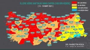 Harita güncellendi: Vaka oranı yine yüksek